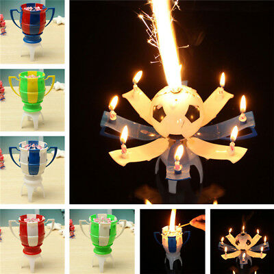 8 Light Musical Romantic Birthday Candle Rotating Football Cup Musical Candle