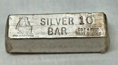 Vintage USS Constitution 10 Troy Oz 999 Fine Silver Poured Bar - Plastic Wrapped