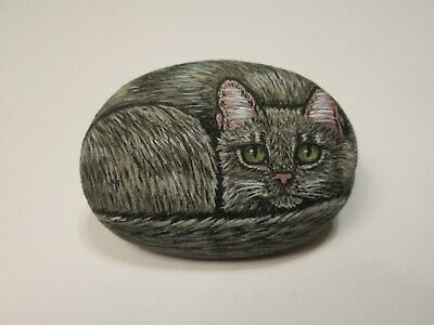 Gray Cat hand painted on a stone - pet rock - by Ann Kelly- miniature