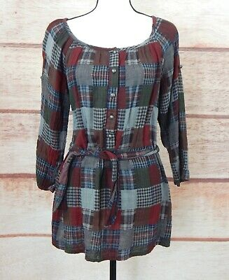 0a60f2e2e075d SACRED THREADS GREEN Red Gray Plaid Roll Up Adj. Sleeves Tunic Blouse OS  S/M/L