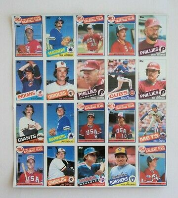 1985 Topps Baseball UNCUT SHEET 20 cards McGwire, Snyder RC