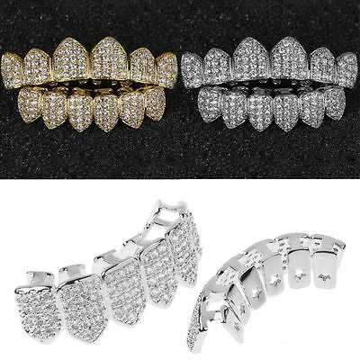 18K Gold/Silver Plated Top Bottom GRILLZ Mouth Bling Teeth Grill Set Hip Hop New