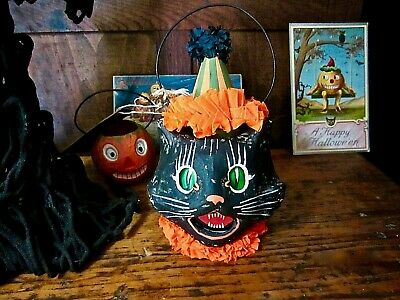 Bethany Lowe Vintage Style Halloween Paper Mache Sassy Cat Mini Bucket Container