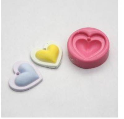 (for necklace) Mini Double Heart-1 ball  Silicone soap Mould plaster Mold