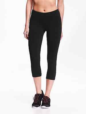 4e7a52ec082e40 Old Navy Active Go-Dry Mid-Rise Printed Compression Leggings Crops ~ Black