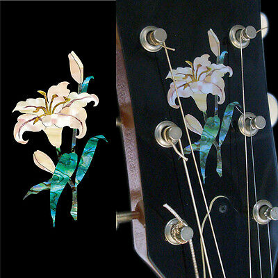 Lily Flower Abalone Inlay Sticker Decal Guitar Headstock Peghead