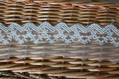 Fabulous Lace Trim Embroidered Floral Mesh Tulle 2 yds Fast Shipping