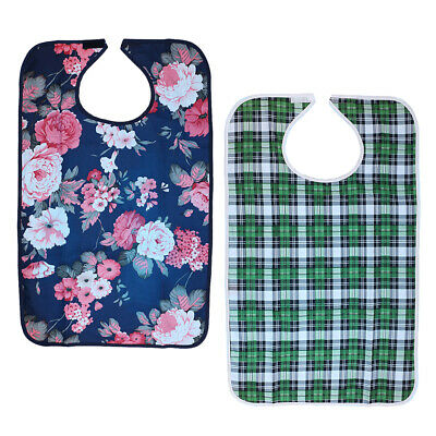 2 Pieces Adults Mealtime Bib Protector Disability Aid Aprons Hibiscus Plaid
