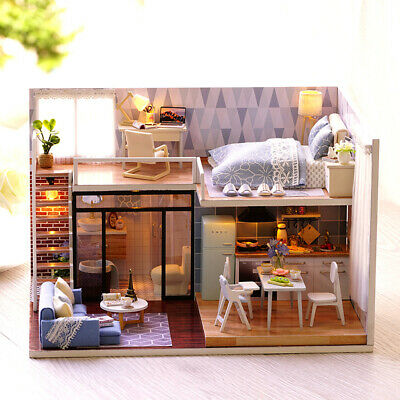 DIY Miniature Loft Dollhouse Kit Lifelike Mini 3D Wooden House Room C6X8