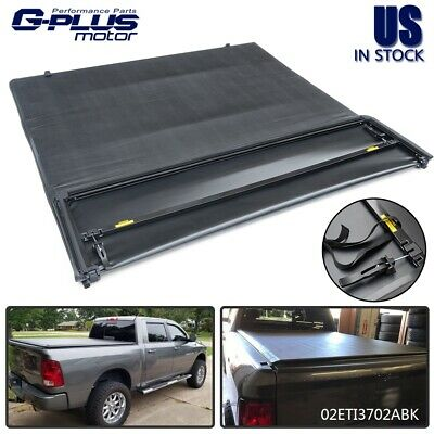 Black 5'7 Bed Soft Four Fold Tonneau Cover For 2009 - 2018 Dodge Ram 1500 2017