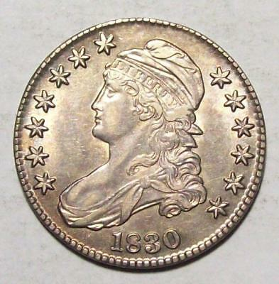 "1830 Small ""O"" Early CAPPED BUST HALF DOLLAR  Original Very Choice AU++  #18B81"