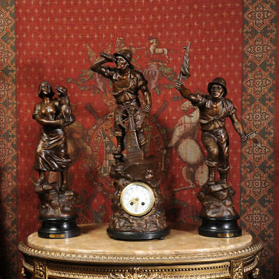 Very Large and Stunning Antique French Figural Clock Set After XAVIER RAPHANEL
