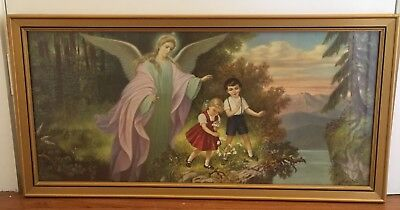 Vintage Retro Guardian Angel With Children Print Picture Signed Under Glass