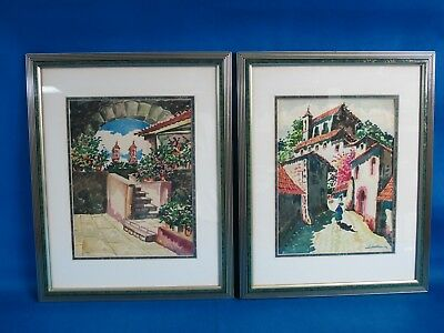 Vintage Original Watercolor Painting Signed by Artist Framed Set of Two Streets