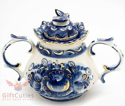 Porcelain Gzhel sugar bowl server w butterfly lid gold plated handmade in Russia