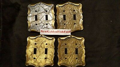 4X Vintage 1970's Amerock Carriage House Dark Brass Double Switch Plate Cover