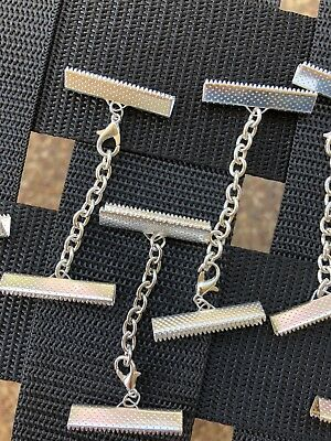 Silver Necklace Leather Cord end 30 mm End Crimp 6 Pack  with clasp and chain