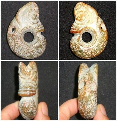 Old Asia Hard Stone Jade Carving Zoomorphic Animal Figure Brown Rock  Pendant 20