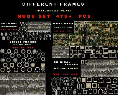 438 PCS STL 3D Models # FRAMES HUGE SET # for CNC Aspire Artcam Engraver Carving
