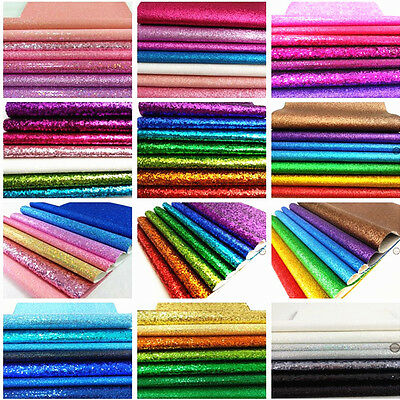 Mixed Sparkle 7 Sheets Bundle Pack Glitter Fabric Set Hair Bow Craft Material A4