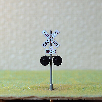 1 x HO scale railroad grade crossing signals 2 tracks sign LED made gray