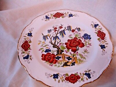 Vintage Bone China Lunch Or Side Plate With A Colourful Willow Pattern Design
