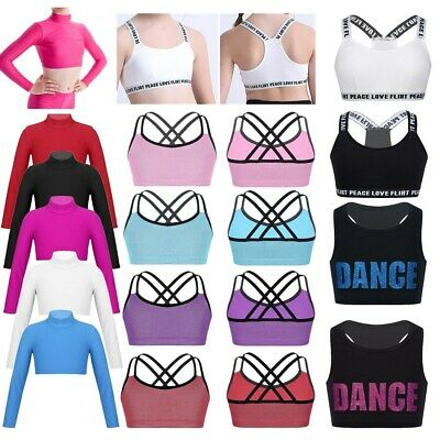 Kid Girls Crop Top Sport Dance Bra Tops Teens Gym Yoga Tank Vest Shirt Underwear