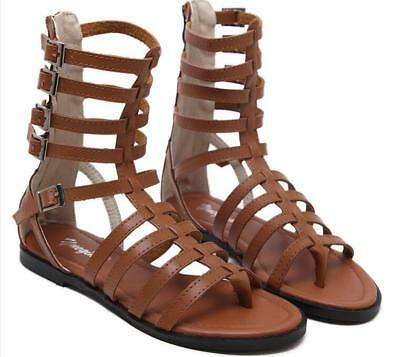 808934a30 Retro Womens Roman Gladiator Sandals Flats Strappy Buckle Leather Casual  Shoes