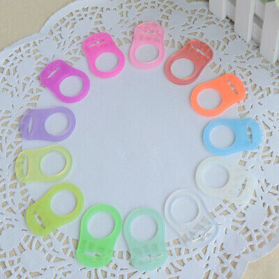 10 stk Clear Silicone Button MAM Ring Dummy  Pacifier Holder Clip Adapter