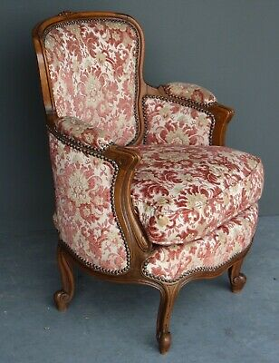 Antique ornate French carved Louis XV tub bergere armchair comfortable original