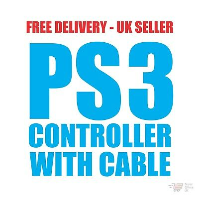 PlayStation 3 Controller. Wireless Dual Shock PS3 Game Controller With Cable NEW