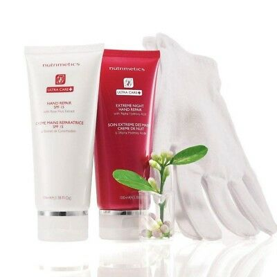 50%off  Nutrimetics ULTRA CARE+ Night & Day Hand Repair Kit with gloves RRP$44