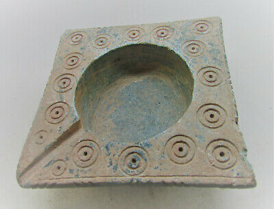 Ancient Byzantine Stone Schist Oil Lamp With Ring And Dot Motifs Authentic