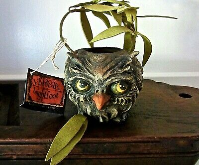 Bethany Lowe Vintage Style Halloween Ghoulish Owl Bucket Candy Container Retired