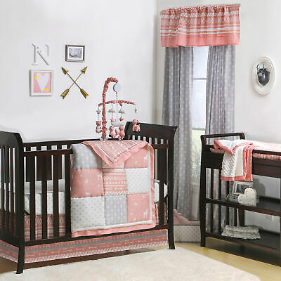 Woodland Pixie Coral & Grey Baby Girl Crib Bedding - 11 Piece Forest Friends Set