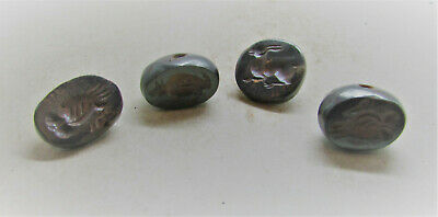 Selection Of Sasanian Style Near Eastern Pyrite Bead Seals With Impressions