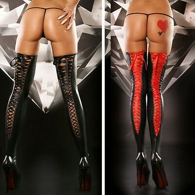Hot Sexy pvc Faux Leather Bondage Thigh High Stockings Lingerie 9003 one size