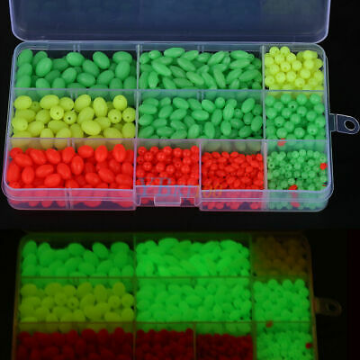 1000pcs Assorted Carp Fishing Lures Soft Oval&Round Plastic Glow Floating Beads~