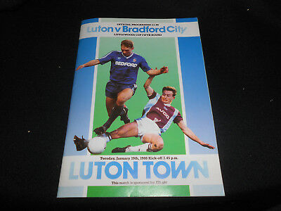LUTON TOWN v BRADFORD CITY 19TH JANUARY,1988  LITTLEWOODS(LEAGUE) CUP ROUND 5