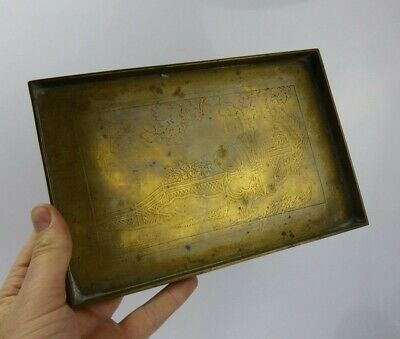 Chinese Antique Paktong Opium Tray - Lady & Calligraphy Design Qing c1900