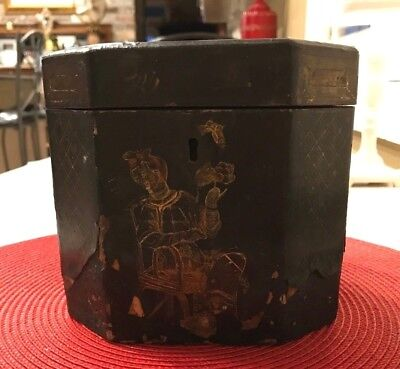 Antique Chinese Lacquered Gilt Decorated Painted Export Tea Caddy with Insert