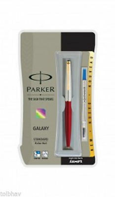 Parker Galaxy GT Roller Ball Pen Gold Trim RollerBall Red Body Blue Ink Vector