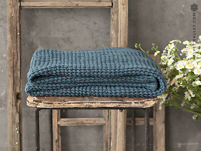 Linen teal blue bath towel- linen waffle face, hand, body towel