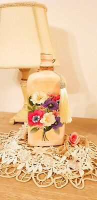 Floral Chic Decorative bottle.  Gift For Her. Unique Decor. Hand Decorated