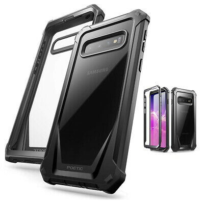 For Samsung Galaxy S10 Plus Hard Back Armor Case,Hybrid Shockproof Cover Black