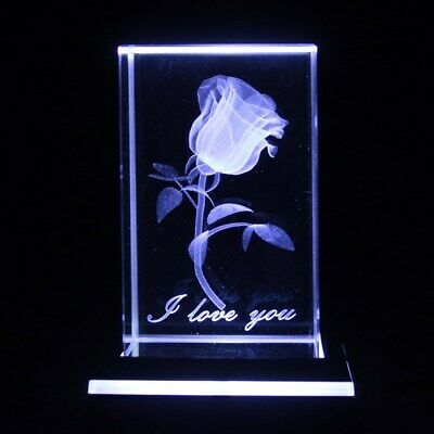 Laser 3D RoseEtched Clear Crystal Block Ornament / Gift -Boxed 5x5x8cm