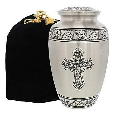 Grace And Mercy Pewter Cross Adult Cremation Urn For Human Ashes - A Warm Lovely
