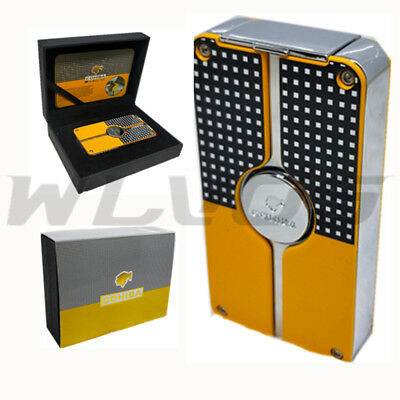 New COHIBA Classic 3 TORCH JET FLAME CIGAR CIGARETTE Metal LIGHTER PUNCH Yellow