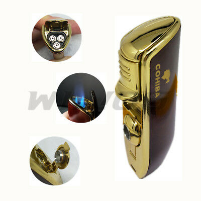 COHIBA Brown Metal 3 TORCH JET FLAME CIGAR CIGARETTE LIGHTER With PUNCH Stylish
