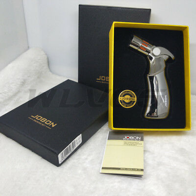 JOBON Four Torch Jet Flame Windproof Refillable Cigarette Cigar Lighter w/ Box